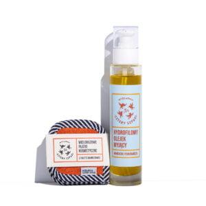 Olejek myjący do twarzy i wielorazowe płatki kosmetyczne zestaw